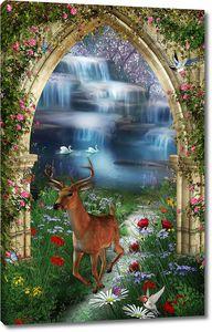 Олень в арке на фоне водопада
