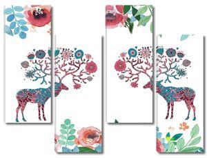 Орнамент с оленями и цветами
