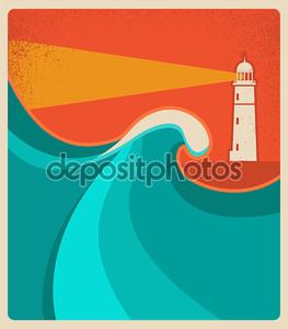 карта маяка с синим sea.vector рекламирует фон