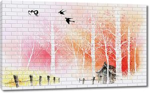 Домик нарисованный на стене