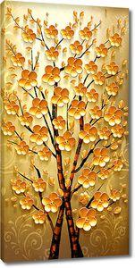 Две сплетающиеся веточки с желтыми цветами
