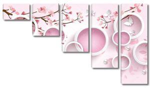Розовые круги, цветущие ветви,