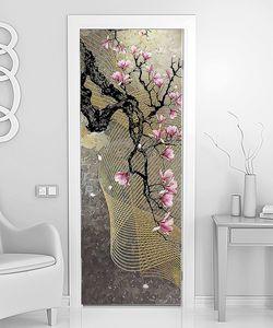 Ветка сакуры с золотой сеткой