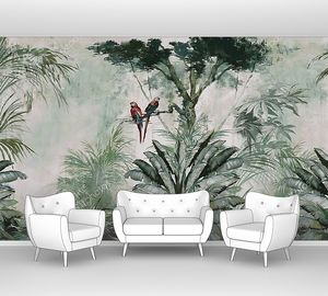 Тропические деревья и попугаи