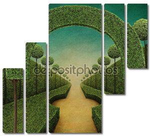 Концептуальные фантазии зеленый фон с аркой и Гранд вход в парк с фонтаном .