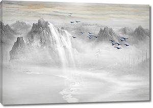 Горные вершины с водопадом