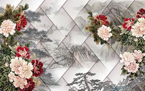 Цветы на фоне японского пейзажа