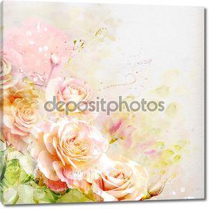 Акварельная живопись букет из роз