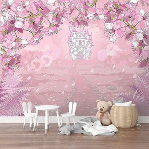Розовый сказочный замок в цветах