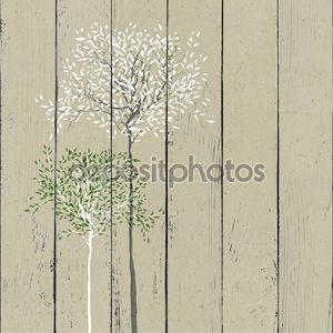 Деревья фон. Ствола и листьев в отдельных слоях. Векто