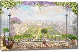 Вид на весь город с большого балкона
