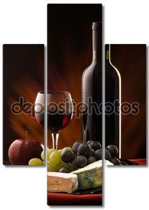 Натюрморт с сыром, виноград и вино
