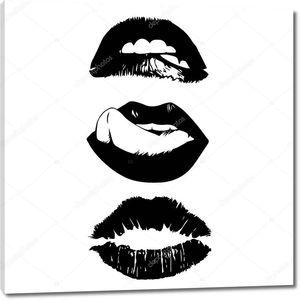 Набор женских губ. Рот с поцелуем, улыбка, язык, зубы.