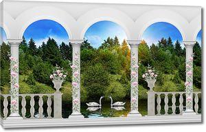 Лебеди на реке с аркадой