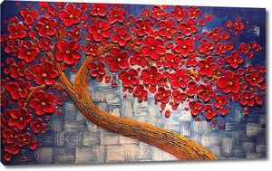 Дерево с кроной из красных цветов