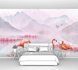 Фламинго и лебеди на горном озере