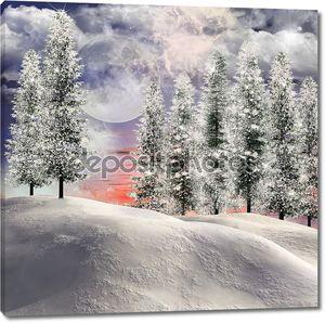 Зимний пейзаж и луна