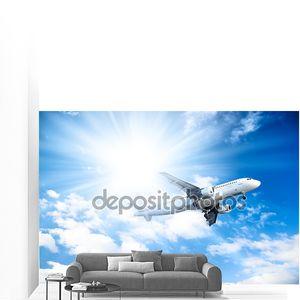 Самолет на фоне голубого неба