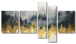 Золотые ели перед лесом в тумане