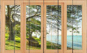 Вид на озеро за стеклом