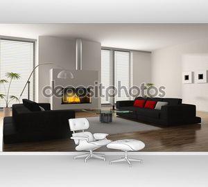 Интерьер зала с камином и мягкой мебелью