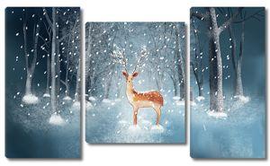 Статный олень в зимнем лесу