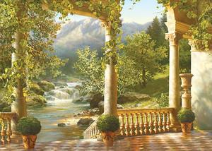 Вид с террасы на живописный парк с водопадом