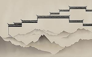 Стены китайские над силуэтами гор