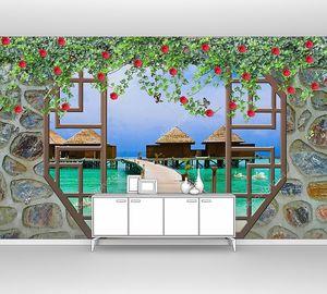 Каменная стена с аркой, морской причал с бунгало