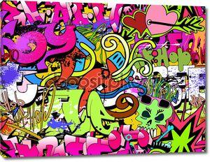 Graffiti wall art background. Hip-hop style seamless texture pat