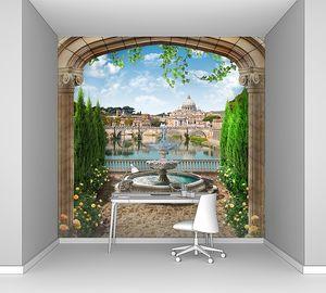 Вид из арки на фонтан