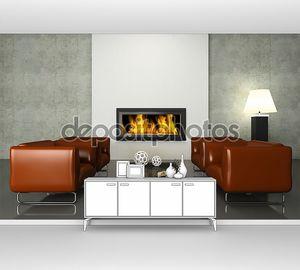 Интерьер с горящим камином