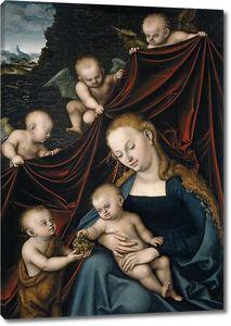 Лукас Кранах (Старший). Мадонна с младенцем с маленьким Иоанном Крестителем и ангелами