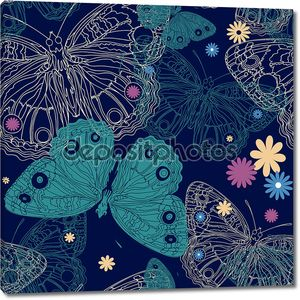 Красивая бабочка на бесшовный фон в векторе
