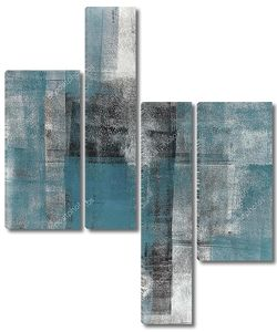 Teal and Black Abstract Art Painting