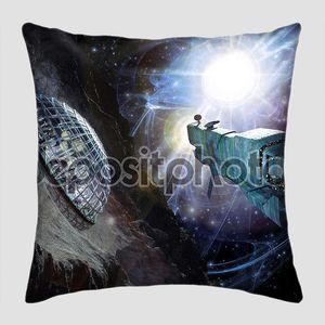 Космический корабль и астероид