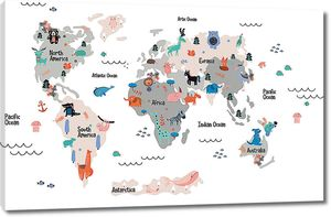 Детская карта на белом фоне