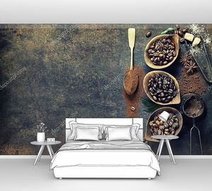 Вид сверху трех сортов кофейных зерен