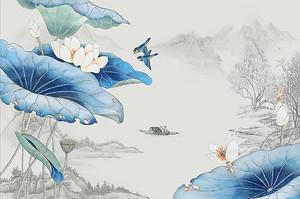 Синие листы лотосов на фоне гор
