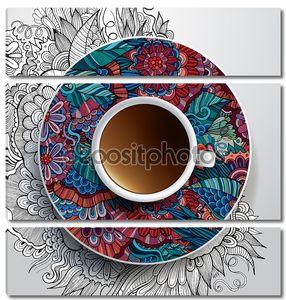 Цветная тарелка с чашкой кофе