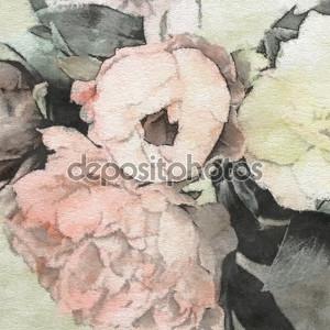 Искусство цветочный марочных фон с розовыми пионами в цвет пастель