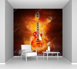 Гитара в пламени огня