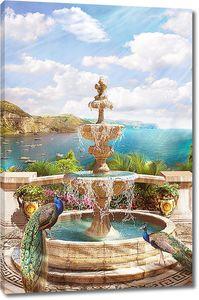 Павлины у фонтана