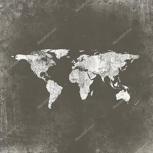 Карта мира на бетоне