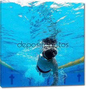 Молодой пловец в бассейне