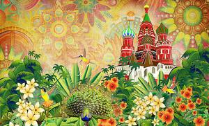 Павлин и цветы на фоне кремля
