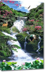 Водопад с экзотическими животными