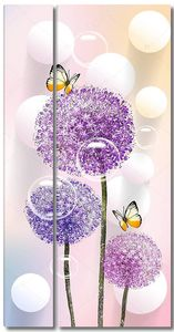 Три разноцветных одуванчика, белые шарики, мыльные пузыри