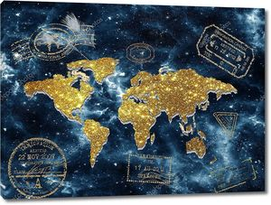 Карта мира на фоне звездного неба