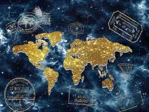 Золотая карта мира на фоне звездного неба